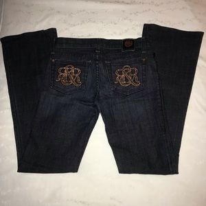 Rock & Republic Jeans - R&R dark rinse low rise flare jean rose gold bling